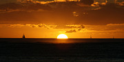 Sunset Over Waikiki Print by Angela DiPietro