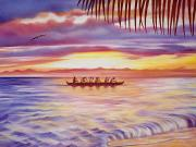 Sports Art Painting Prints - Sunset Paddlers Print by Barbara Eberhart - Printscapes