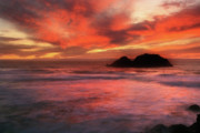 Seascapes Paintings - Sunset Paintings Posters Prints - Endless Breath by Frances Leigh