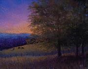 Field Pastels Prints - Sunset Pasture Print by Susan Jenkins