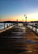 Winthrop Posters - Sunset Pier Poster by Extrospection Art