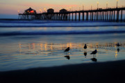 Huntington Prints - Sunset pier Print by Pierre Leclerc