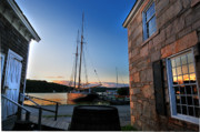 Stone Buildings Photos - Sunset Reflections - Mystic Seaport by Thomas Schoeller