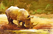 Watercolor  Metal Prints - Sunset Rhino Metal Print by Brian Kesinger