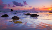 Beach Photo Metal Prints - Sunset Ripples Metal Print by Mike  Dawson