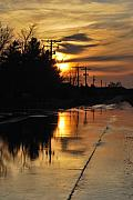 Mnkreations Metal Prints - Sunset Road Reflection Metal Print by Michelle Kelnhofer