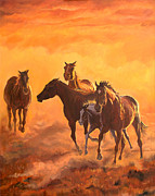 Running Horses Paintings - Sunset run by Jana Goode