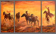 Horse Herd Photo Prints - Sunset Run Triptych Print by Jana Goode