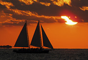 Key West Photographs Framed Prints - Sunset Sail 2 Framed Print by Bob Slitzan