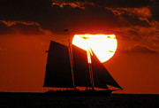 Key West Photographs Framed Prints - Sunset Sail 5 Framed Print by Bob Slitzan