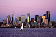 Seattle Skyline Posters - Sunset Sail in Puget Sound Poster by Adam Romanowicz