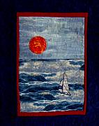 Seas Tapestries - Textiles - Sunset Sail by Maureen Wartski