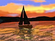 Sealife Mixed Media - Sunset Sail by Sher Magins