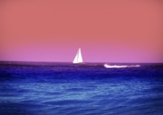 Sailboat Ocean Digital Art Prints - Sunset Sailboat Print by Bill Cannon
