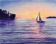Warm Summer Drawings Prints - Sunset Sailboat Print by Diane Bay