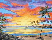 Key West Paintings - Sunset Sailboat by John Moon