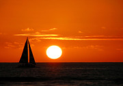 Beach Art Photos - Sunset Sailing by Kristine Merc