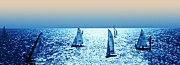 Yachts Prints - Sunset sailing Print by Sharon Lisa Clarke