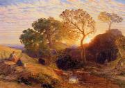 Shepherdess Metal Prints - Sunset Metal Print by Samuel Palmer