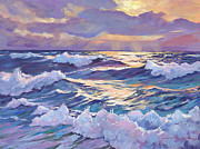 Clouds Sunset Painting Prints - Sunset Santa Catalina Print by David Lloyd Glover