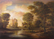 Peisaj Paintings - Sunset Scene by Dan Scurtu