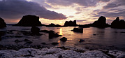 Sunset Seascape Framed Prints - Sunset Shines Through Rocks Framed Print by Chris Hill