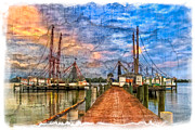 Sail Boats Prints - Sunset Shrimping II Print by Debra and Dave Vanderlaan
