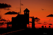 Coast Guard Station Framed Prints - Sunset Silhouette Framed Print by Frederic A Reinecke