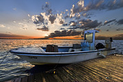 Wooden Ship Prints - Sunset Skiff Print by Debra and Dave Vanderlaan