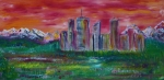 Sunrise Paintings - Sunset Skyline by James Bryron Love