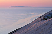 Lake Freighter Art - Sunset Sleeping Bear Dunes by Dean Pennala