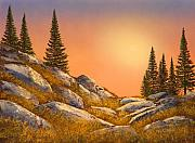 Gouache Painting Originals - Sunset Spruces by Frank Wilson