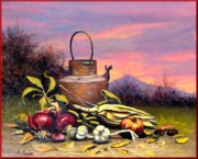 Italian Landscapes Paintings - Sunset still life by Dibatte