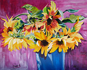 Suzanne Willis Metal Prints - Sunset Sunflowers Metal Print by Suzanne Willis
