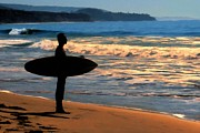 Surf Silhouette Prints - Sunset Surfer Print by Dave Nielsen