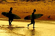 Beaches Art - Sunset Surfers  by Benanne Stiens