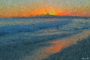 Impressionism Photos - Sunset Surfers by Heidi Smith