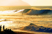 Surf Silhouette Metal Prints - Sunset Surfers Metal Print by Kevin Smith