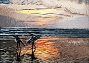 Tilly Art Framed Prints - Sunset Surfers Framed Print by Tilly Williams