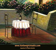 Italian Wine Paintings - Sunset Table by Italian Art