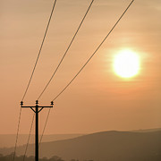 Pole Prints - Sunset Telecoms Print by Peter Chadwick LRPS