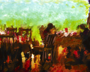Grove Park Inn Mixed Media Originals - Sunset Terrace Intimacy by Marilyn Sholin