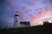Maine Lighthouses Photo Posters - Sunset Tints The Sky Poster by Stephen St. John