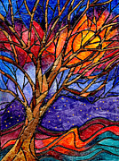 Turquoise Stained Glass Painting Prints - Sunset Tree Abstract Print by Elaine Hodges