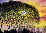 Light And Dark   Painting Prints - Sunset Tree Silhouette Print by Brian Wallace