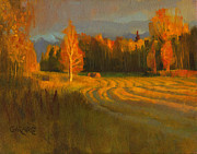 Fall Paintings - Sunset Trees by Douglas Girard