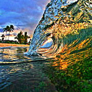 Laniakea Beach Prints - Sunset Tube - Square Print by Paul Topp