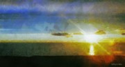 Atlantic Digital Art - Sunset Under the Clouds by Jeff Kolker