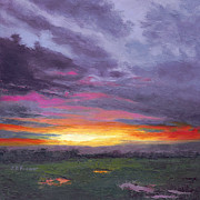 Barrette Painting Originals - Sunset V by Elaine Farmer