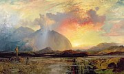 Crucifix Paintings - Sunset Vespers at the Old Rugged Cross by Thomas Moran